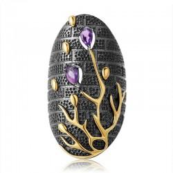 Vintage purple zircon - gold tree - ring
