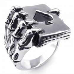 Claw holding poker cards - ring - metal