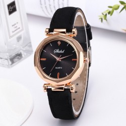 Women - Leather - Watch - Luxury - Quartz - Crystal - Wristwatch