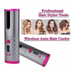 Ceramic hair curler - cordless - auto-rotating - Led display - USB