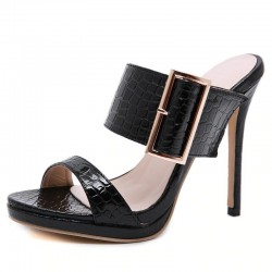 Sexy high heeled sandals with decorative buckle - leather