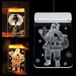 Christmas 3D decoration for door / window - LED light - transparent plate with suction cup