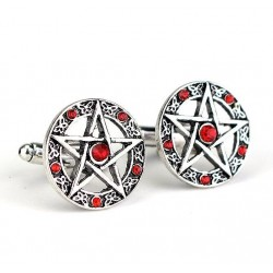 Antique cufflinks - pentagram & crystals