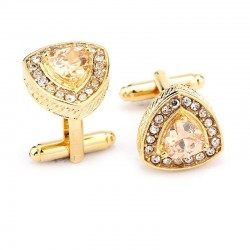 Elegant cufflinks with crystal triangles