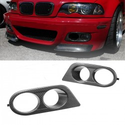 Pair car fog light covers - bmw e46 m3 - carbon fiber