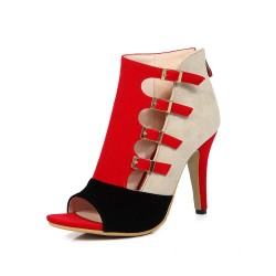 High heel pumps - sandals - with buckles & zipper - ankle length