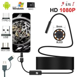 8.0mm - USB endoscope camera - 1080P HD - 8 LED - waterproof cable - for Android / PC