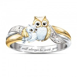 """Mother owl with child - crystal ring - """"I Will Always Be With You"""" lettering"""