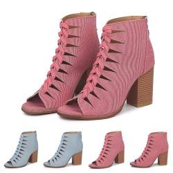 Cross-tied high heel pumps - denim - ankle length - back zipper