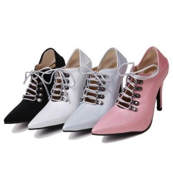 Lace-up high heel pumps - ankle length