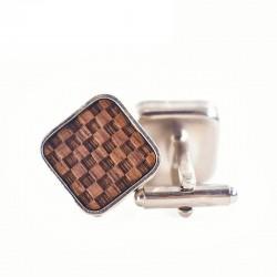 Square cufflinks - wooden grid