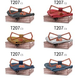 Cufflinks - bow tie - handkerchief - neckband strap - vintage wooden set