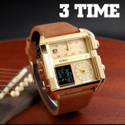 Sports quartz watch - 3 time zone - LED - leather band