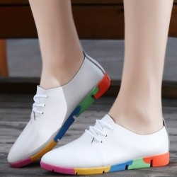 Flat shoes with rainbow sole - with laces - genuine leather