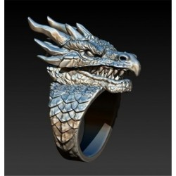 Stainless steel ring with a dragon head - Punk / Gothic style