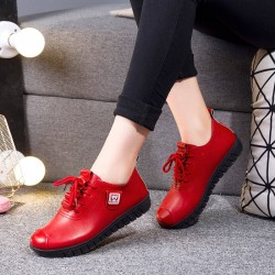 Soft flat shoes - with laces - genuine leather