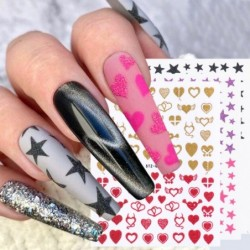 Nail art stickers - water transfer - glitter - stars - hearts