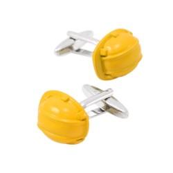 Yellow safety helmet - cufflinks