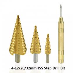 HSS step drill bit - 4-12mm / 4-20mm / 4-32mm - titanium wood cutter