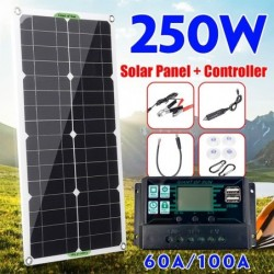 Solar panel kit - battery charger - dual USB - 250W - with controller - for car / yacht / Smartphones