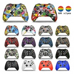 Silicone protective case cover - for Xbox One Slim controller - with 2 grips caps