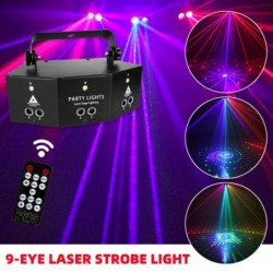 9-eye disco lamp - RGB - DMX - LED - light projector - laser - remote control - for disco / bars