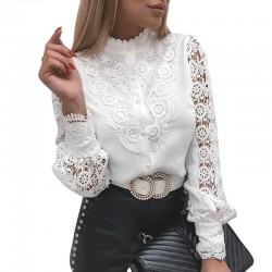 White blouse - with lace patchwork long sleeve