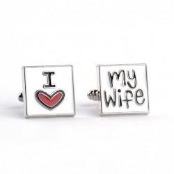 """I Love My Wife"" - square cufflinks"