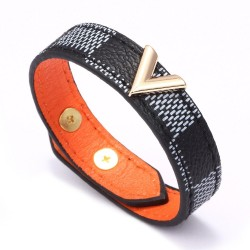 Fashionable leather bracelet - with V letter / charms - unisex