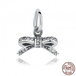 Crystal bowknot pendant - for bracelets / necklaces - 925 sterling silver