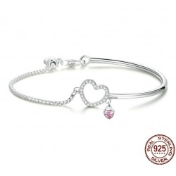 Crystal bracelet - with mini hearts - 925 sterling silver