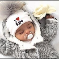 I Love Mama & Papa - warm cotton hat with pom pom - for newborns / kids