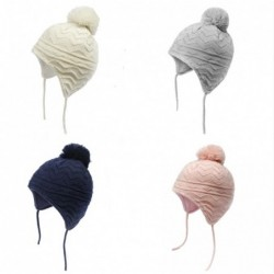 Knitted beanie - with ears protection / pom pom - for girls / boys