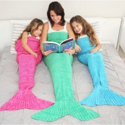 Knitted crochet blanket - with mermaid tail - unisex