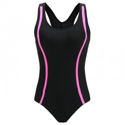 Fashionable one piece swimming suit - side stripes