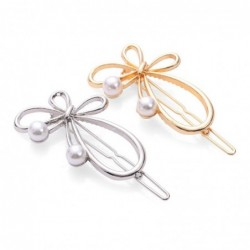 Bow-knot butterfly - metal hair clip - with pearls