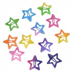 Colorful hair clips - glitter butterflies / stars - 12 pieces