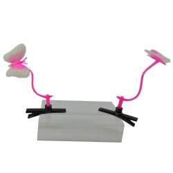 Pink butterfly / long grass - hair clip - 2 pieces