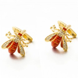Bee shaped metal cufflinks - with crystals