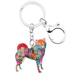 Shiba inu - enamel dog - metal keychain