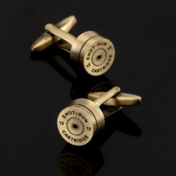 Bronze and gold bullet - round cufflinks