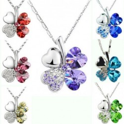 Pendant with crystal four-leaf clover - with necklace
