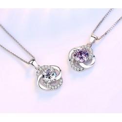 Crystal four-leaf clover - 925 sterling silver necklace - 45cm