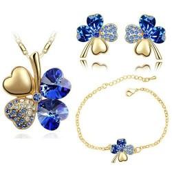 Multi colored four leaf clover - necklace / earrings / bracelet - jewellery set