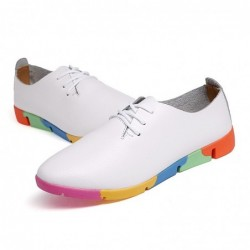 Fashionable loafers - flat shoes - with rainbow soles / laces - genuine leather