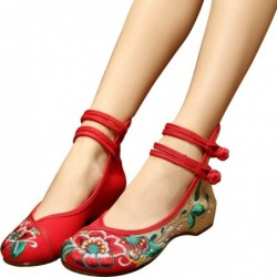Chinese style sandals - canvas shoes with buckle - embroidered hibiscus flowers
