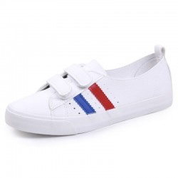 Classic white sneakers - flat loafers with velcro
