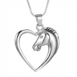 Heart shaped pendant with horse head - stainless steel necklace