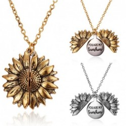 """Sunflower shaped pendant with necklace - openable - """"You Are My Sunshine"""" lettering"""