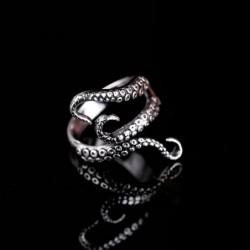Octopus tentacle ring - titanium steel - adjustable